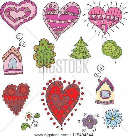 Collection Of Doodle Hearts, Trees, Houses For Design