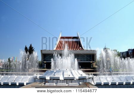 Fountain In Front Of Musical Theater, The City Of Omsk, Siberia, Russia