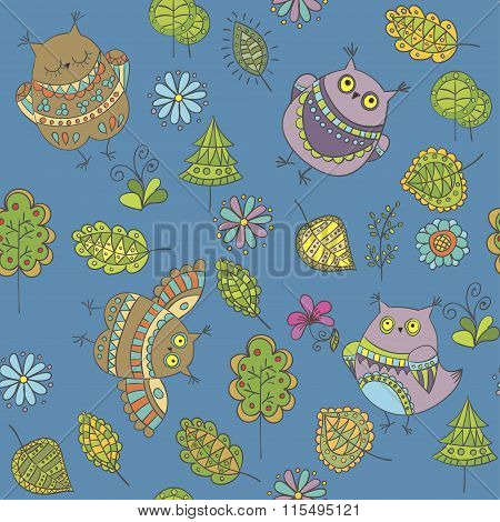Seamless Vector Pattern With Owls, Trees, Leaves And Flowers
