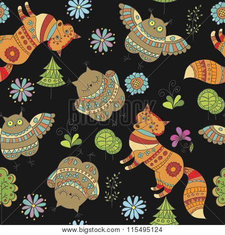 Seamless Vector Pattern With Foxes, Owls And Trees