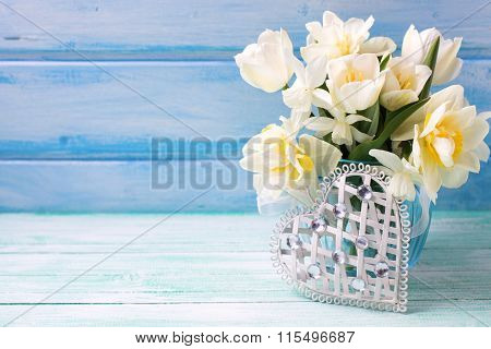 White Daffodils And Tulips  Flowers In Blue Vase And White Heart