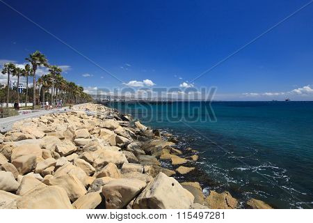 View From The Promenade By The Sea. Limassol, Cyprus