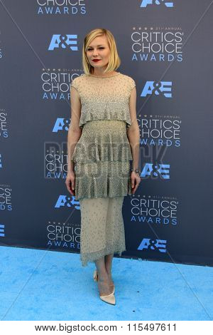 LOS ANGELES - JAN 17:  Kirsten Dunst at the 21st Annual Critics Choice Awards at the Barker Hanger on January 17, 2016 in Santa Monica, CA
