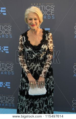 LOS ANGELES - JAN 17:  Helen Mirren at the 21st Annual Critics Choice Awards at the Barker Hanger on January 17, 2016 in Santa Monica, CA