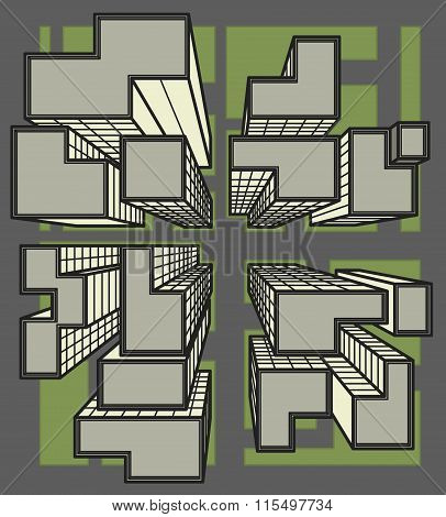 Vector city top view colored line art