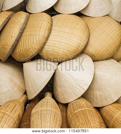 Traditional Style Pattern Nature Background Of Brown Handicraft Weave Texture Wicker Surface For Fur
