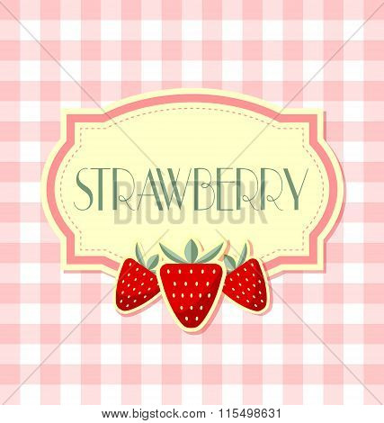 Strawberry label in retro style on squared background