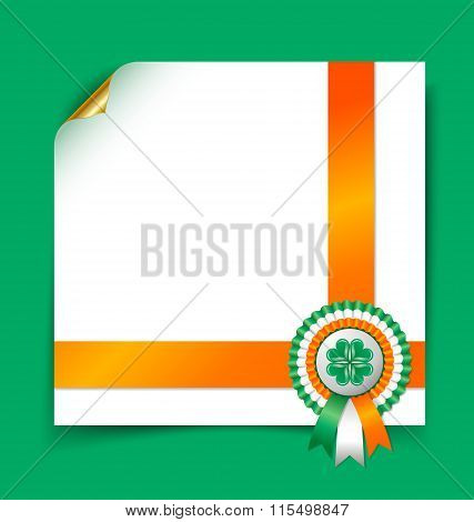 Irish document template with rosette on green background