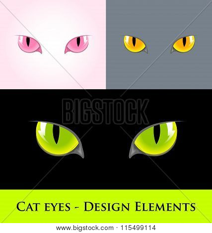 Cat eyes design element isolated on various backgrounds