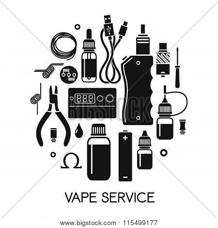 Vector Icons Of Vape And Accessories