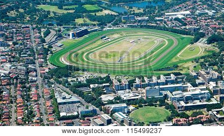 Aerial View Of Horse Racing Track