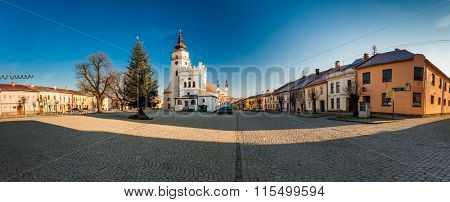 PODOLINEC, SLOVAKIA, 01 JAN 2016: Podolinec is a little historical ancient town in north part of Slovakia. View of the main square and the church of the Virgin Mary's Ascension.