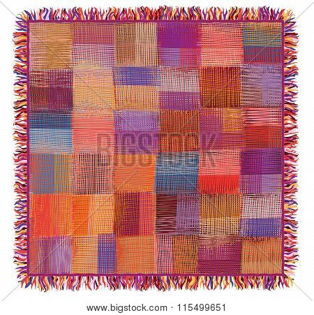 Grunge Striped And Checkered ,quilt,weave Colorful Plaid With Fringe Isolated On White