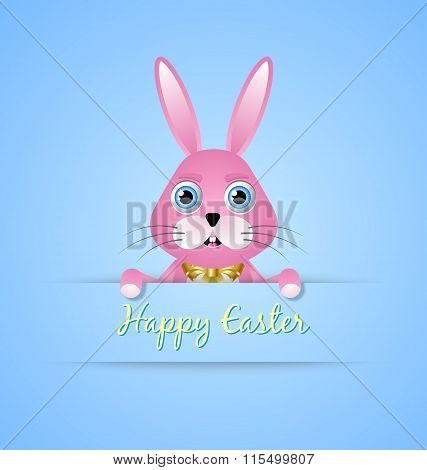 Happy Easter card template with pink bunny on blue background