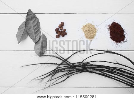 Creative. The Leaves And Coffee Beans On A White Background.