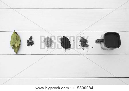 Creative Eye. Different Types Of Coffee On A White Background.