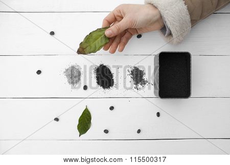 Creative Work Sheet Coffee In His Hand A Female Hand.