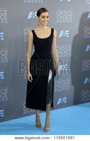 LOS ANGELES - JAN 17:  Emmy Rossum at the 21st Annual Critics Choice Awards at the Barker Hanger on January 17, 2016 in Santa Monica, CA