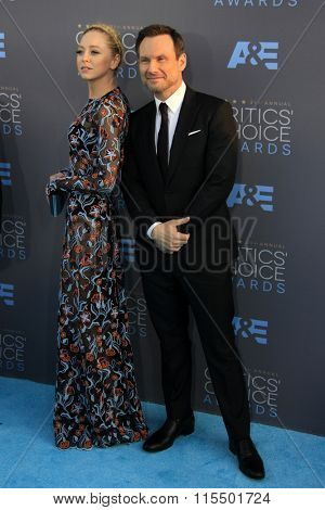 LOS ANGELES - JAN 17:  Portia Doubleday, Christian Slater at the 21st Annual Critics Choice Awards at the Barker Hanger on January 17, 2016 in Santa Monica, CA