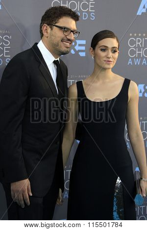 LOS ANGELES - JAN 17:  Sam Esmail, Emmy Rossum at the 21st Annual Critics Choice Awards at the Barker Hanger on January 17, 2016 in Santa Monica, CA