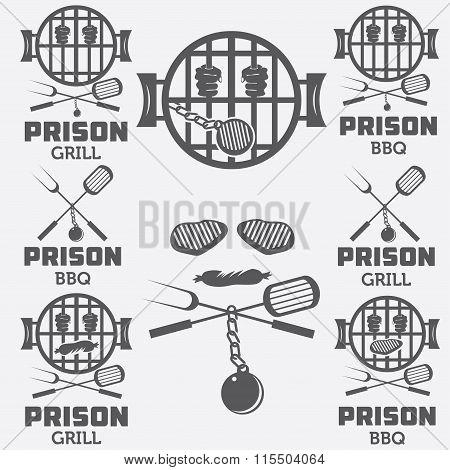 Prison Bbq Concept Labels Set