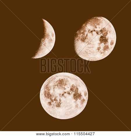 Retro Looking Moon Phases
