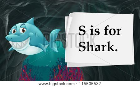 Letter S is for shark illustration