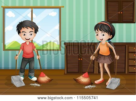 Boy and girl sweeping the floor illustration