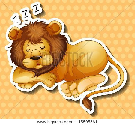 Lion sleeping on polkadots background illustration