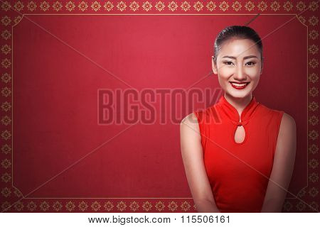 Chinese Woman In Cheongsam Dress Smile