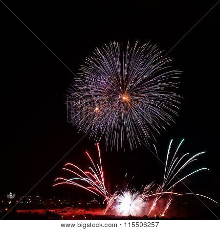Colourful fireworks explosion in Zurrieq, Malta. Fest St.Catharina in Malta. Victory day
