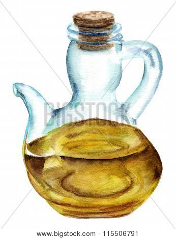 A watercolor drawing of a realistic bottle of extra virgin olive oil on white background