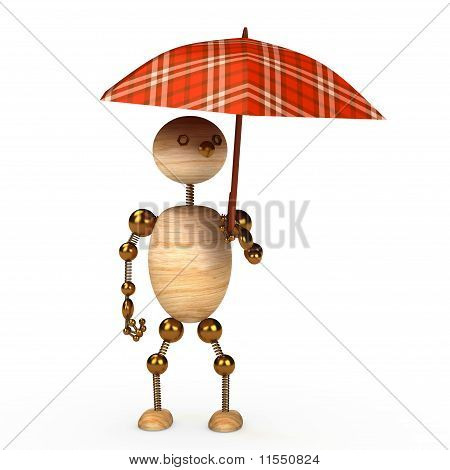 wood man under umbrella