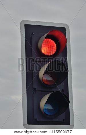 UK traffic signal set at red