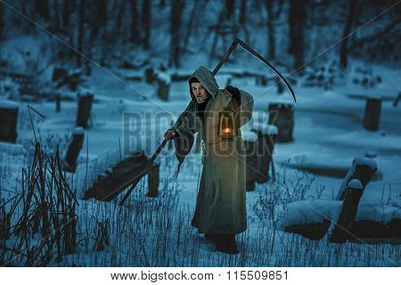 Scary Man With Scythe Is The Winter Snow.