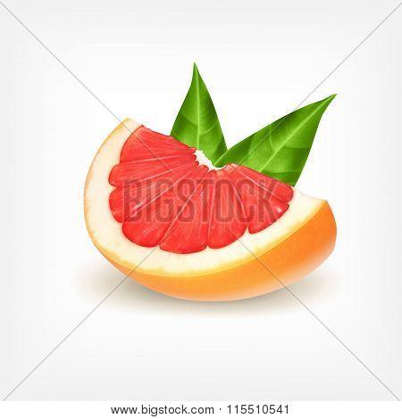 Slice of fresh grapefruit