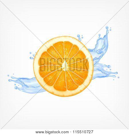 Orange slice with water