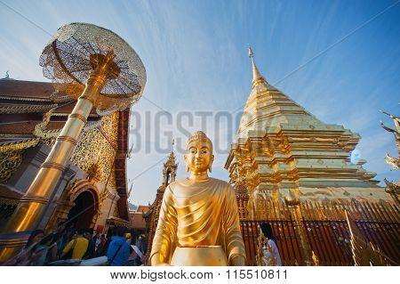 Outdoor Buddha Statue Of Wat Phra That Doi Suthep In Thailand.