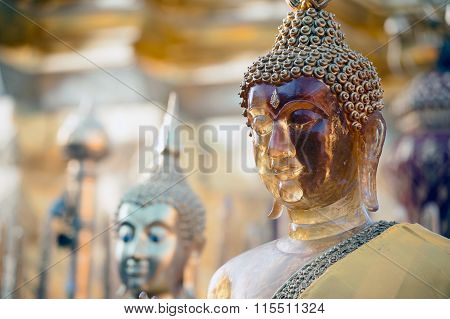 Face of outdoor Buddha at Wat Phra That Doi Suthep in Thailand.