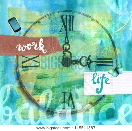 'work-life Balance' Collage Illustration With Lettering And Watercolor Drawings