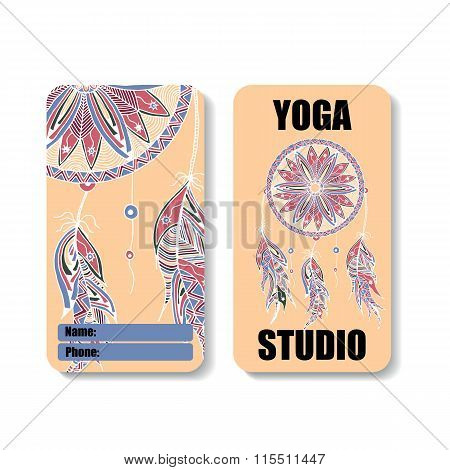 yoga studio banner with the image of a Dreamcatcher