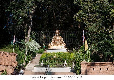 Outdoor Monk Statue Of Wat Phra That Doi Suthep In Thailand.