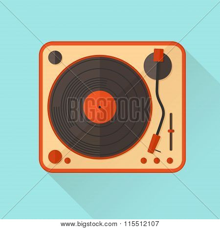 Orange Vinyl Turntable. Vector Illustration. Flat Style.