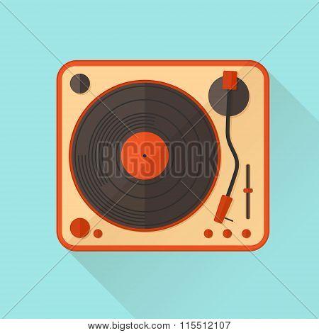 Orange Vinyl Turntable. Vector Illustration. Flat Style.