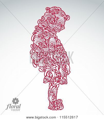Creative Illustration Of Shy Girl With A Long Hair. Cute Teenage Girl Wearing dress