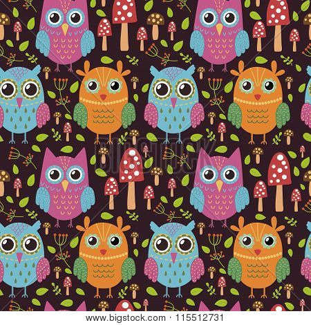 Childish seamless pattern with cute owls