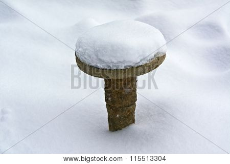 Bollard Sticking Out Of The Snow