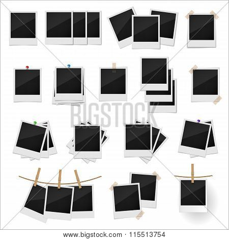 Photo frame set. Photo frame vector. Photo frame illustration. Photo frame art. Photo frame collection. Polaroid set. Polaroid set collection. Polaroid icons. Polaroid icons vector. Photo set