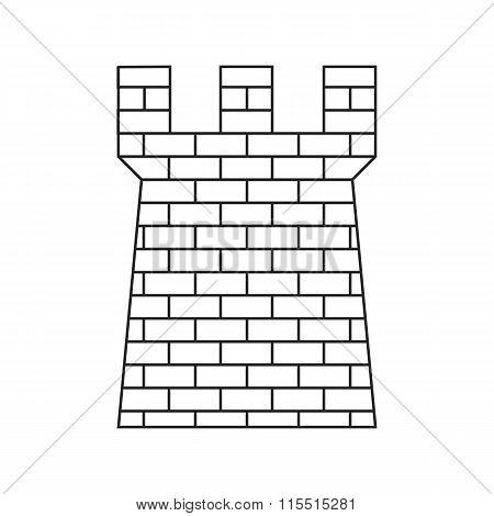 Ancient brick defense tower thin line icon