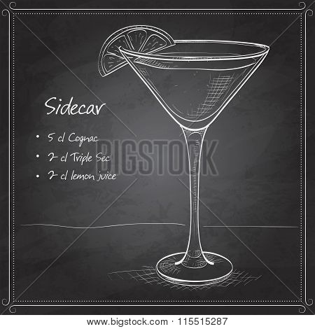 Sidecar cocktail on black board